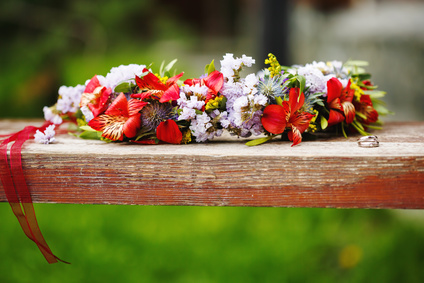 Flower wreath decoration with wedding rings